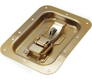 ProLatch in Recess Dish with Safety Catch & Padlockable Mild Steel Zinc Plate Passivate (Yellow)